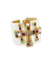 Kenneth Jay Lane | White Enamel Multi Color Cross Cuff | Lyst