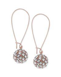 T Tahari - Metallic 14k Rose Goldplated Hook Fireball Drop Earrings - Lyst