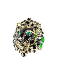 Roberto Cavalli - Metallic Lion Metal And Crystals Ring - Lyst