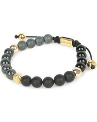 Nialaya | Black 14ct Gold, Agate, Onyx And Jade Beaded Bracelet | Lyst