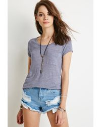 Forever 21 | Purple Cuffed-sleeve Pocket Tee | Lyst