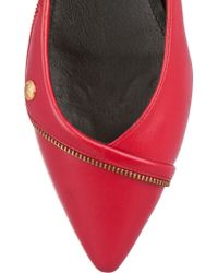 Balmain - Red Zip-detailed Leather Ballet Flats - Lyst