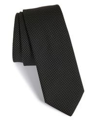 HUGO | Black Pin Dot Silk Tie for Men | Lyst