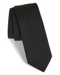 HUGO - Black Pin Dot Silk Tie for Men - Lyst