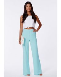 Missguided - Megane Blue High Waisted Palazzo Trousers - Lyst