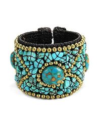 Aeravida | Cotton Rope Blue Turquoise Stone Brass Wire Cuff | Lyst