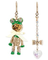 Betsey Johnson | Metallic Gold-tone Lion Frog Mismatch Earrings | Lyst