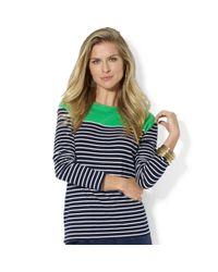 Lauren by Ralph Lauren | Multicolor Long Sleeve Striped Colorblocked Top | Lyst