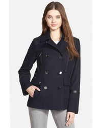 MICHAEL Michael Kors | Blue Faux Leather Trim Wool Blend Peacoat | Lyst