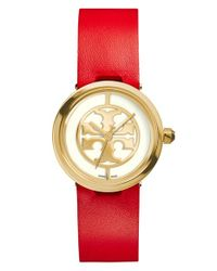 Tory Burch | Red 'reva' Logo Dial Leather Strap Watch | Lyst