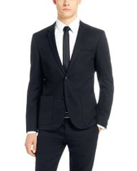HUGO - Blue Slim Fit Jacket 'Alesono' In Cotton Blend for Men - Lyst