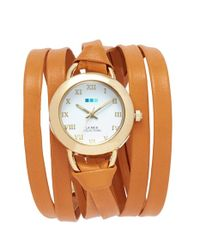 La Mer Collections - Brown 'saturn' Round Leather Wrap Watch - Lyst
