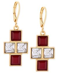 T Tahari - Gold-tone Red And Clear Square Crystal Drop Earrings - Lyst