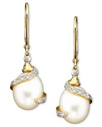 Macy's | Metallic 14k Gold Cultured Freshwater Pearl Diamond (1/10 Ct. T.w.) Earrings | Lyst
