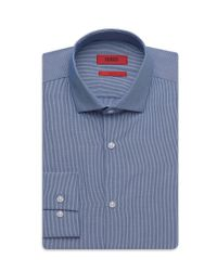 HUGO | Blue 'eastonx' | Slim Fit, Cotton Microstripe Dress Shirt for Men | Lyst