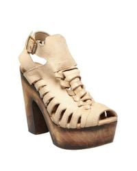 Freebird by Steven | Brown Congo Leather Platform Sandals | Lyst