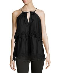 Thakoon - Black Lace-trimmed Layered Halter Top - Lyst