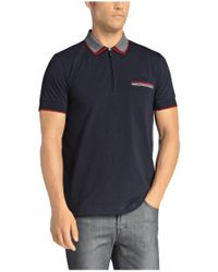 BOSS Green - Blue 'philix' | Modern Fit, Stretch Cotton Zip Polo for Men - Lyst