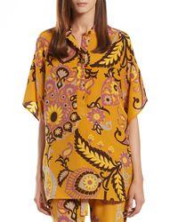 Gucci - Multicolor Paisley Print Silk Oversize Top - Lyst