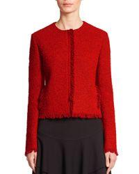 Akris Punto - Red Collarless Fringe Tweed Jacket - Lyst