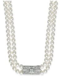Arabella | White Bridal Cultured Freshwater Pearl (6-1/2mm) And Swarovski Zirconia (2-3/8 Ct. T.w.) Two-row Necklace In Sterling Silver | Lyst