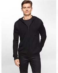 Calvin Klein | Black White Label Colorblock Merino Wool Blend Zip Front Hoodie for Men | Lyst