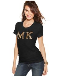 Michael Kors | Black Michael Sequin Logo-patch Tee | Lyst