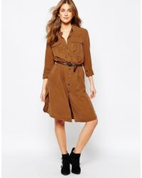 Pull&Bear - Brown Utility Shirt Dress - Lyst