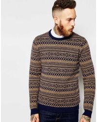 ASOS - Blue Lambswool Rich Jumper In 2 Colour Fairisle for Men - Lyst