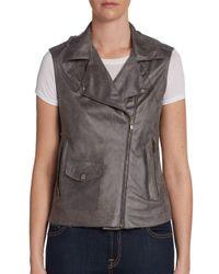 Georgie - Gray Faux Leather Moto Vest - Lyst