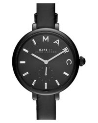 Marc Jacobs - Black 'sally' Round Leather Strap Watch - Lyst