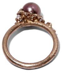 Ruth Tomlinson | White Gold Black Pearl Encrusted Ring | Lyst