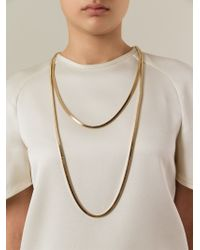 Lanvin - Metallic Double Chain Necklace - Lyst