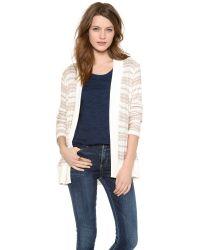 Splendid - White Palisades Stripe Loose Knit Cardigan - Lyst