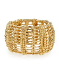 R.j. Graziano | Metallic Wide Golden Stretch Bracelet | Lyst