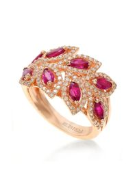 Effy | Red Diamond And Ruby 14k Rose Gold Ring, 0.56 Tcw | Lyst