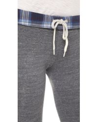 Monrow - Gray Plaid Fold Over Sweatpants - Lyst