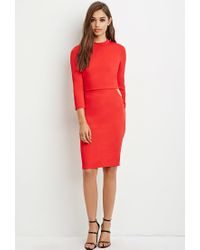 Forever 21 - Layered Cutout Midi Dress - Lyst
