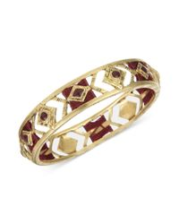 The Sak - Metallic Gold Tone and Sangria Thread Cut Out Design Bangle Bracelet - Lyst