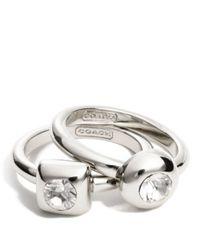 COACH - Metallic Stone Ring Set - Lyst