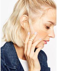 ASOS | Metallic Leaf Midi Ring With Faux Pearl | Lyst