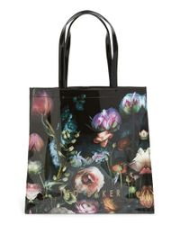 Ted Baker - Black 'large Shadow Flora Icon' Tote - Lyst