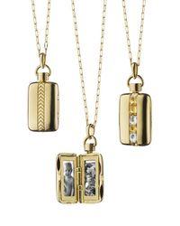 Monica Rich Kosann - Metallic 18k Gold Crystal & Yellow Sapphire Locket Necklace - Lyst