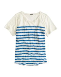 J.Crew - White Linen Striped T-shirt - Lyst