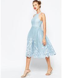 ASOS   Blue Embroidered Floral Super Full Mesh Dress   Lyst