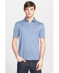 John Varvatos - Blue 'Hampton' Silk & Cotton Polo for Men - Lyst