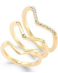 ABS By Allen Schwartz | Metallic Chevron Ring Set | Lyst