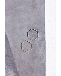 Adina Reyter | Metallic Small Hexagon Hoop Earring | Lyst