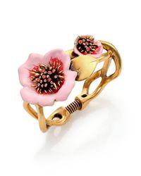 Oscar de la Renta | Pink Painted Flower Bracelet | Lyst
