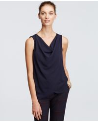Ann Taylor | Blue Petite Draped Sleeveless Top | Lyst